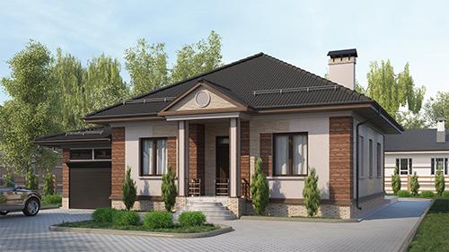 Проект одноэтажного дома, с тремя спальнями, с пристроенным гаражом на 1 машину