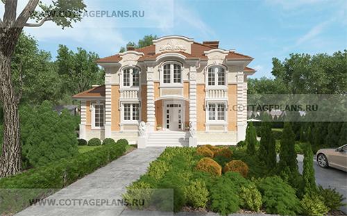 проект двухэтажного дома, с полноценным вторым этажом, с пятью спальнями, со вторым светом, с барбекю на террасе