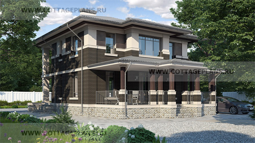 проект двухэтажного дома, с четырьмя спальнями, со вторым светом и террасой