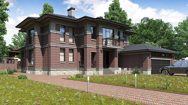 проект двухэтажного дома с гаражом в современном стиле