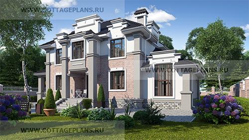 проект двухэтажного дома, с полноценным вторым этажом, с пятью спальнями спальнями