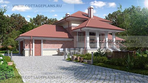 проект двухэтажного дома, с мансардой, с сауной, парной в доме, с пристроенным гаражом на 2 машины