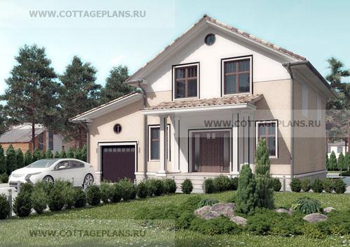 проект двухэтажного дома с мансардой, с четырьмя спальнями, с пристроенным гаражом на 1 машину