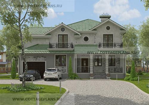 проект двухэтажного дома, с полноценным вторым этажом, с четырьмя спальнями, со вторым светом, с встроенным гаражом на 1 машину