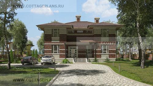 проект двухэтажного дома, с мансардой, с шестью спальнями, с цокольным этажом