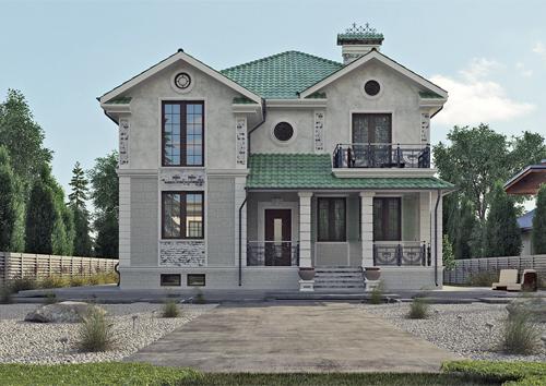 проект двухэтажного дома 88-55 в классическом стиле из керамического блока