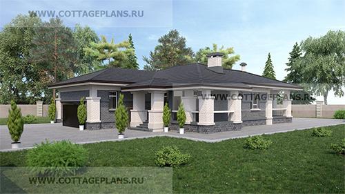 проект одноэтажного дома с сауной, парной в доме, с барбекю на террасе, с пристроенным гаражом на 2 машины