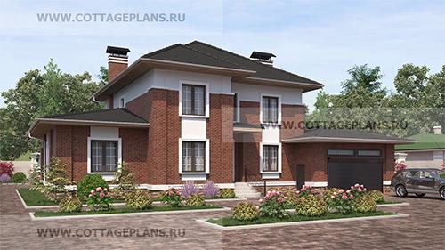 проект двухэтажного дома, с полноценным вторым этажом, с пятью спальнями, со вторым светом, с пристроенным гаражом на 2 машины