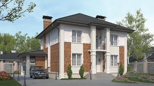 проект двухэтажного дома, с полноценным вторым этажом, с сауной, парной в доме, с барбекю на террасе