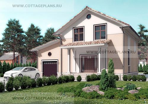 89-04 проект дома с мансардой, пристроенным гаражом на 1 машину и террасой