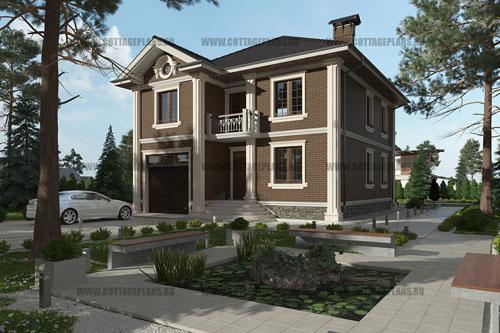 проект двухэтажного дома, с полноценным вторым этажом, с встроенным гаражом на 1 машину, с барбекю на террасе