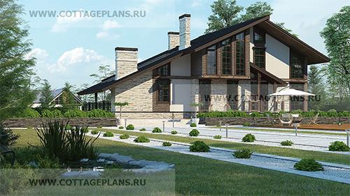 проект двухэтажного дома, с полноценным вторым этажом, с четырьмя спальнями, со вторым светом, с барбекю на террасе