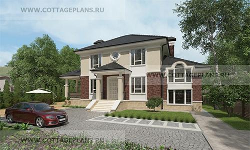 проект двухэтажного дома, с полноценным вторым этажом, с пятью спальнями, с сауной, парной в доме