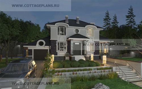 проект двухэтажного дома, с полноценным вторым этажом, с четырьмя спальнями, с пристроенным гаражом на 1 машину