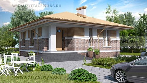 проект одноэтажного дома с тремя спальнями, с барбекю на террасе