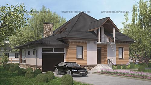 проект двухэтажного дома, с мансардой, с пятью спальнями, со вторым светом, с пристроенным гаражом на 1 машину