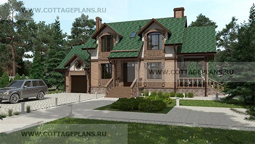 проект двухэтажного дома с мансардой, с четырьмя спальнями, с пристроенным гаражом на 1 машину, с барбекю на террасе
