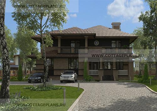 89-35 проект двухэтажного дома с полноценным вторым этажом, с шестью спальнями