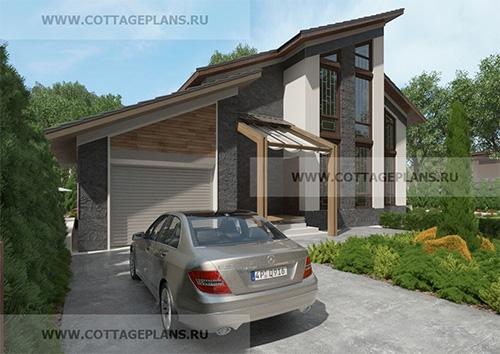 проект двухэтажного дома с мансардой, с пристроенным гаражом на 1 машину