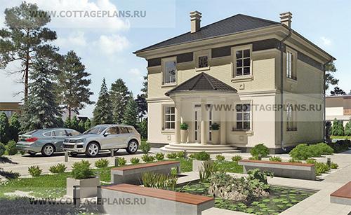 проект двухэтажного дома, с полноценным вторым этажом, с четырьмя спальнями, с террасой