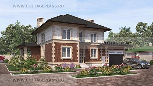 проект двухэтажного дома, с полноценным вторым этажом, с четырьмя спальнями, со вторым светом, с пристроенным гаражом на 1 машину, с барбекю на террасе
