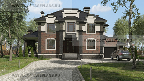 проект двухэтажного дома, с полноценным вторым этажом, с четырьмя спальнями, с пристроенным гаражом на 1 машину, с барбекю на террасе