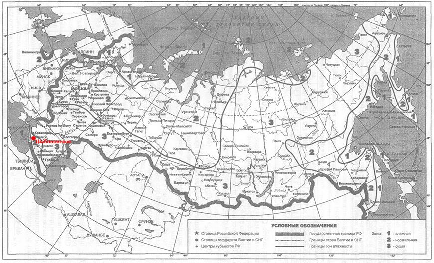 Климатическая карта влажности село Шабановское
