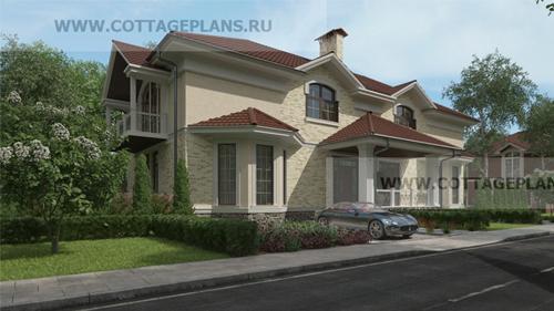 проект дома на 2 семьи, с мансардой, с тремя спальнями