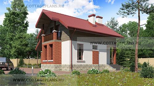 проект двухэтажного дома с мансардой, с цокольным этажом