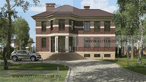 проект двухэтажного дома, с полноценным вторым этажом, с пятью спальнями, с цокольным этажом