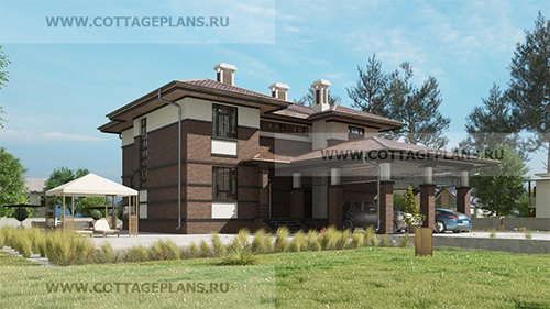 проект двухэтажного дома, с полноценным вторым этажом, с шестью спальнями, с навесом на 2 машины