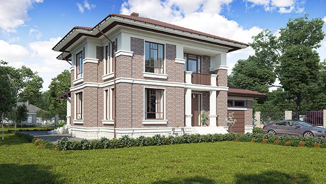 проект двухэтажного дома с 6-ю спальнями и гаражом на 1 машину