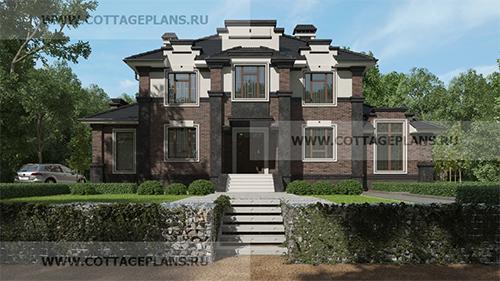проект дома в стиле неоклассика с каминным залом и 6-ю спальнями
