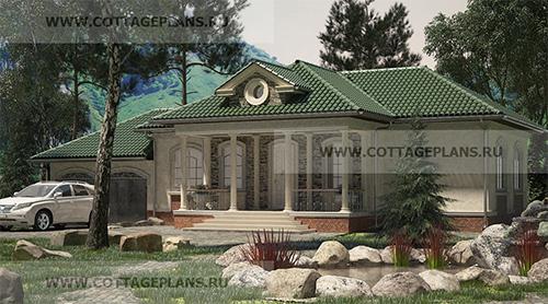 проект одноэтажного дома в классическом стиле с гаражом на 2 машины