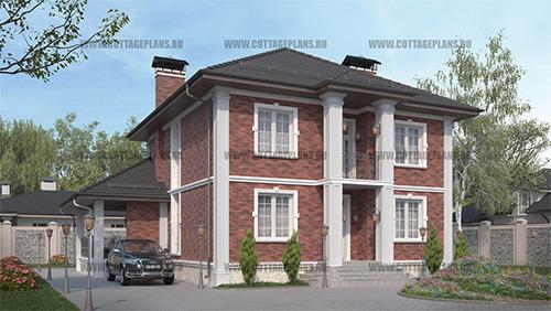 проект дома в английском стиле из керамического блока со вторым светом и барбекю на террасе