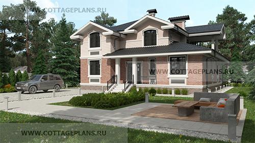 проект двухэтажного дома, с мансардой, с пятью спальнями, с сауной, парной в доме