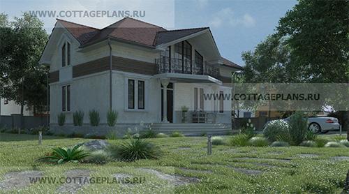 проект двухэтажного дома, с мансардой, с шестью спальнями, с каминным залом