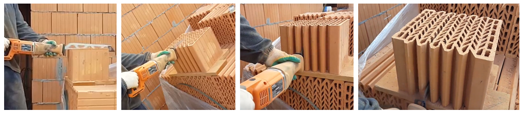 пиление керамических блоков Кайман30 сабельной пилой