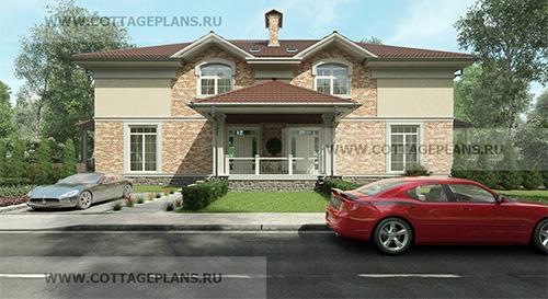 Проект двухэтажного дома с мансардой на две семьи
