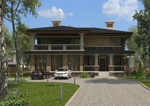 проект двухэтажного дома, с полноценным вторым этажом, с тремя спальнями, с каминным залом, со вторым светом