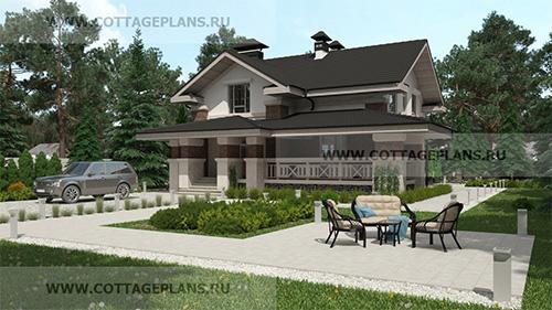 проект двухэтажного дома, с мансардой этажом, с пятью спальнями, с цокольным этажом