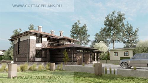 проект двухэтажного дома, с полноценным вторым этажом, с пятью спальнями, с пристроенным гаражом на 2 машины, с бассейном