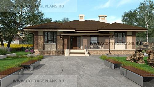 проект одноэтажного дома с 3-мя спальнями и террасой на главном фасаде