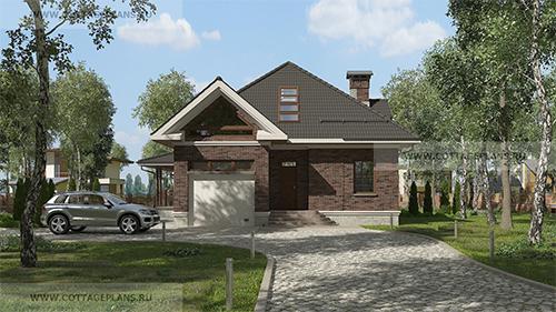 проект одноэтажного дома с мансардным этажом, вторым светом и гаражом