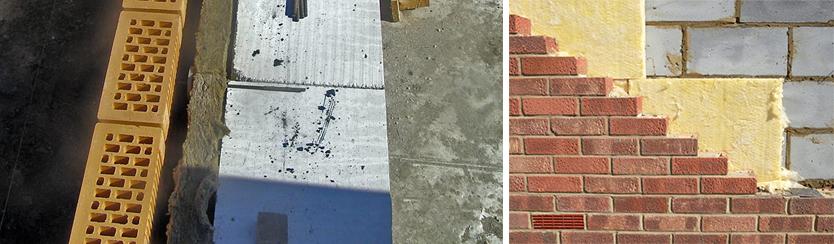 внешняя стена из газосиликатных блоков (пеноблоков) 300мм с утеплением 50мм и облицовкой кирпичом