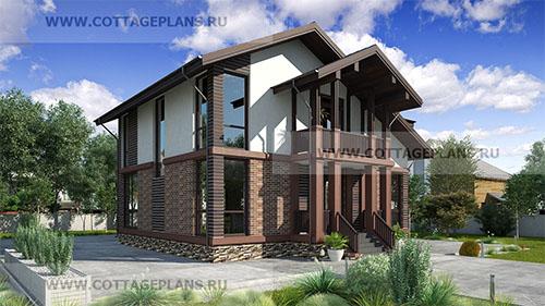 проект двухэтажного дома с полноценным вторым этажом, с четырьмя спальнями, с цокольным этажом