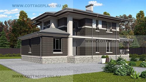 проект двухэтажного дома с пятью спальнями, вторым светом и террасой