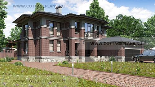 проект двухэтажного дома, с полноценным вторым этажом, со вторым светом, с цокольным этажом, с пристроенным гаражом на 2 машины, с барбекю на террасе