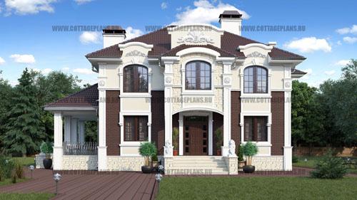 проект двухэтажного дома, с полноценным вторым этажом, с шестью спальнями, с барбекю на террасе