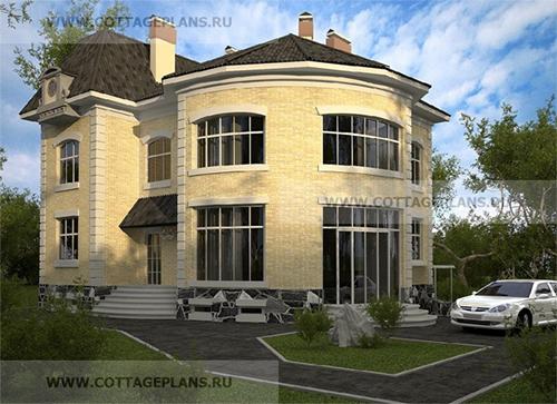 проект двухэтажного дома, с полноценным вторым этажом, с цокольным этажом